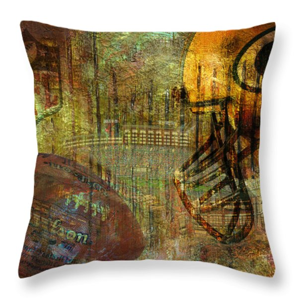 Greenbay Packers Throw Pillow by Jack Zulli
