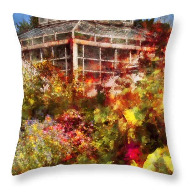 Greenhouse - The Greenhouse And The Garden Throw Pillow by Mike Savad