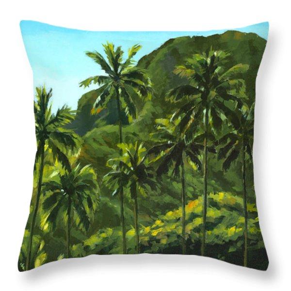 Greens Of Kahana Throw Pillow by Douglas Simonson