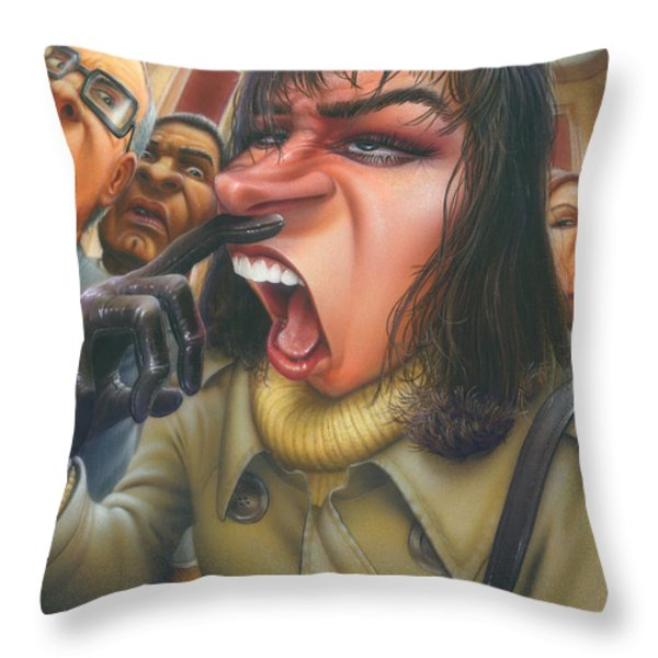 Greeting Card Flu Season Woman About To Sneeze Throw Pillow by Walt Curlee