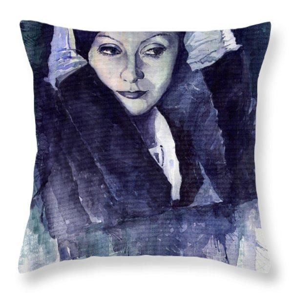 Greta Garbo Throw Pillow by Yuriy  Shevchuk
