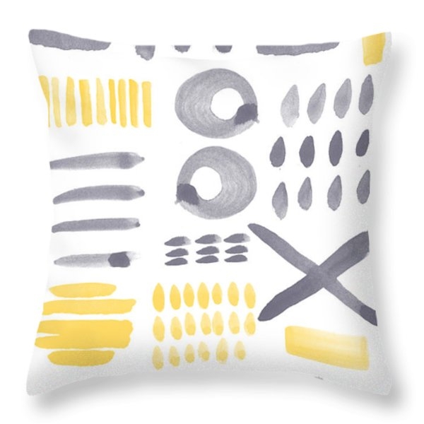 Grey And Yellow Shapes- Abstract Painting Throw Pillow by Linda Woods