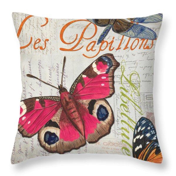 Grey Postcard Butterflies 1 Throw Pillow by Debbie DeWitt