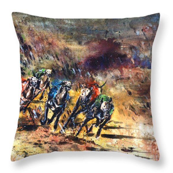 Greyhound Racing Throw Pillow by Zaira Dzhaubaeva