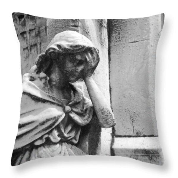 Grieving Statue Throw Pillow by Jennifer Lyon