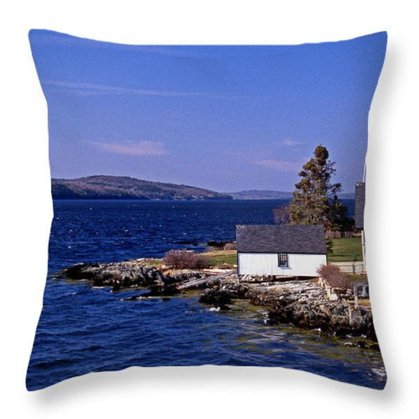 GRINDEL POINT LIGHTHOUSE Throw Pillow by Skip Willits