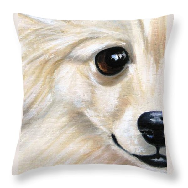 Grinning Pom Throw Pillow by Debbie Finley