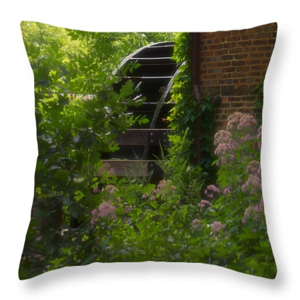 Grist Mill Wheel Vertical Throw Pillow by Thomas Woolworth