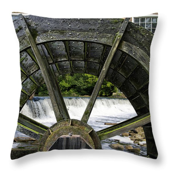 Grist Mill Wheel With Spillway Throw Pillow by Thomas Woolworth