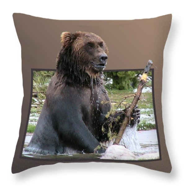 Grizzly Bear 6 Out of Bounds Throw Pillow by Thomas Woolworth