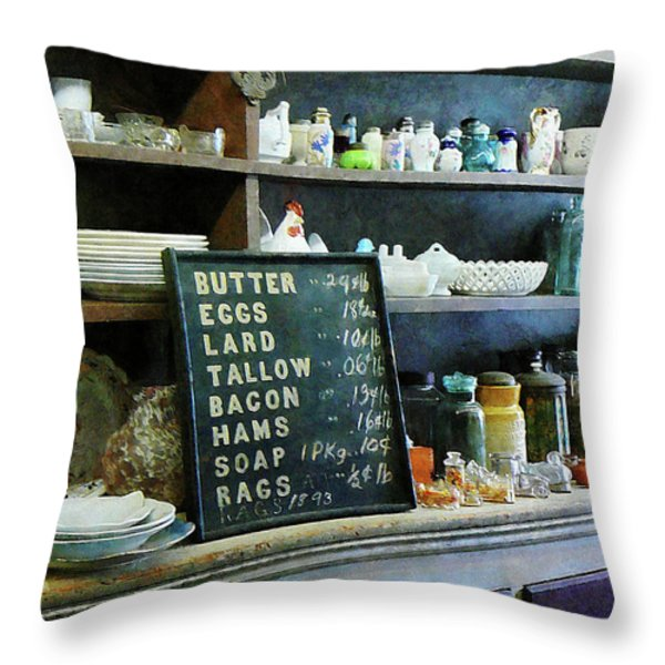 Groceries in General Store Throw Pillow by Susan Savad