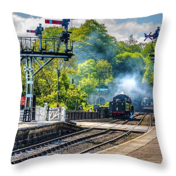Grosmont Railway Station Throw Pillow by Trevor Kersley