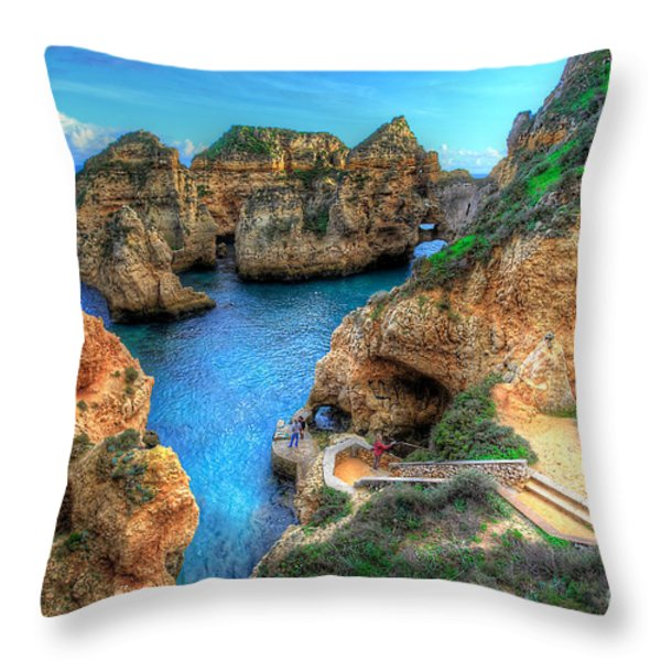 Grottos At Ponta Piedade Throw Pillow by English Landscapes