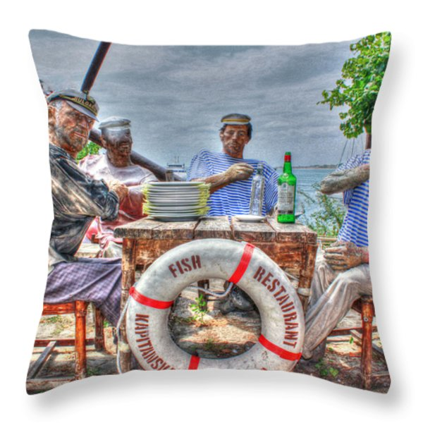 Group Of Sailors On A Table Throw Pillow by Eti Reid