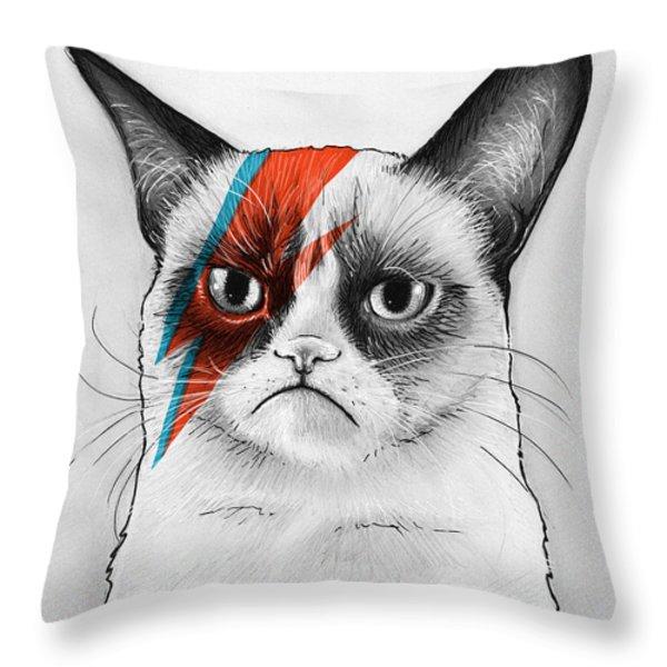 Grumpy Cat As David Bowie Throw Pillow by Olga Shvartsur