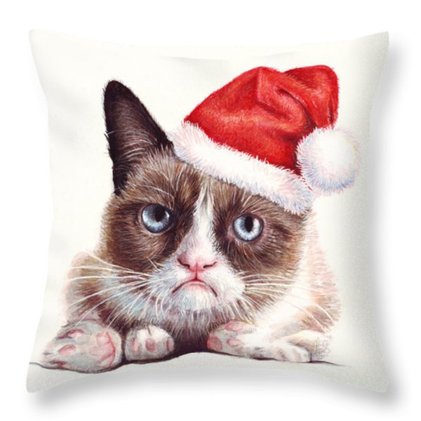 Grumpy Cat as Santa Throw Pillow by Olga Shvartsur