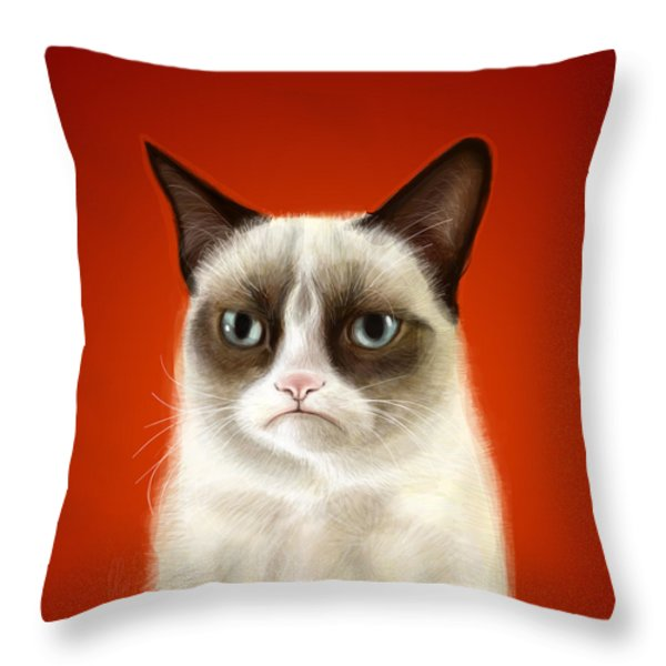 Grumpy Cat Throw Pillow by Olga Shvartsur