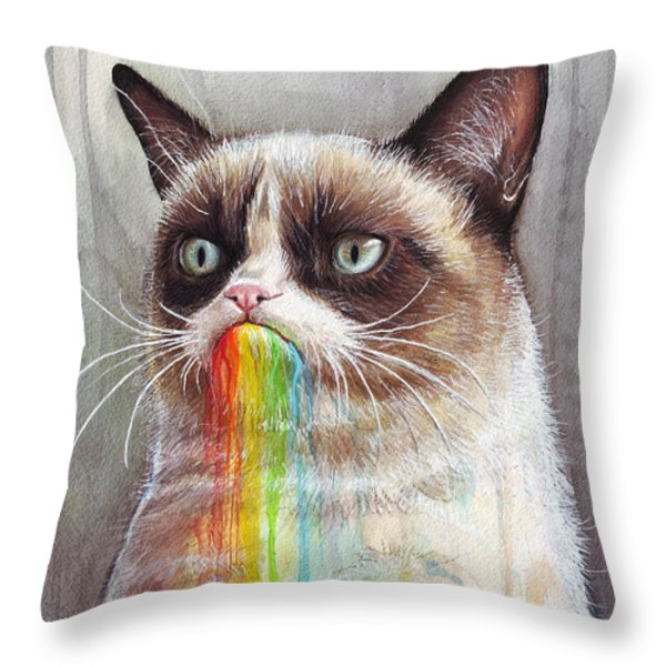 Grumpy Cat Tastes the Rainbow Throw Pillow by Olga Shvartsur