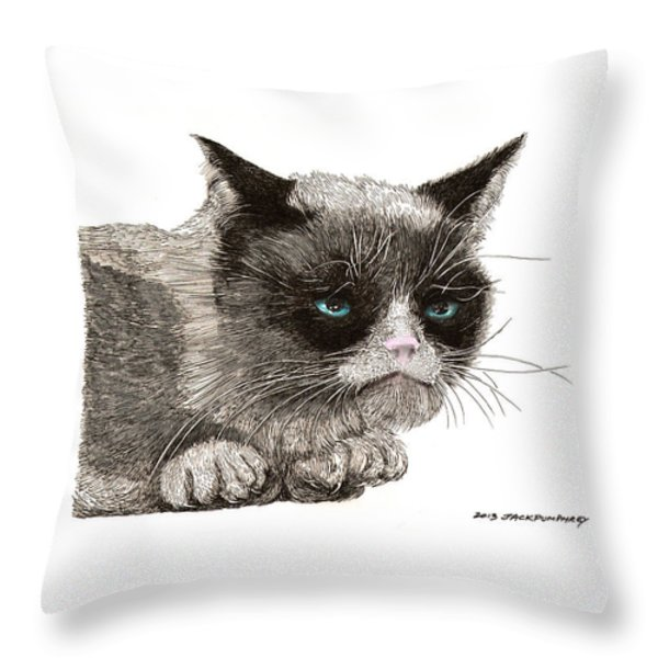 GRUMPY PUSSY CAT Throw Pillow by Jack Pumphrey