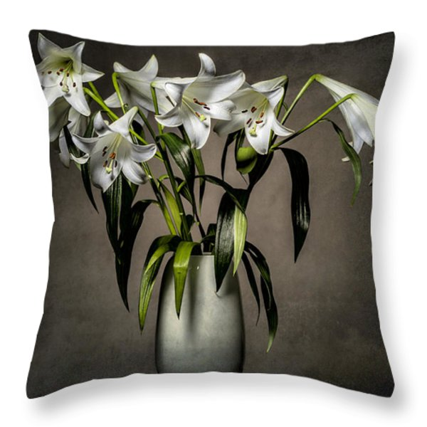 Grunge Lilies Throw Pillow by Erik Brede