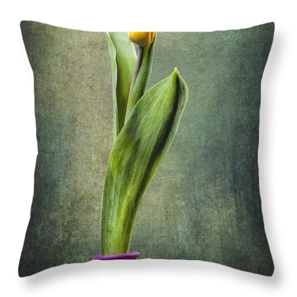 Grunge Yellow Tulip Throw Pillow by Erik Brede