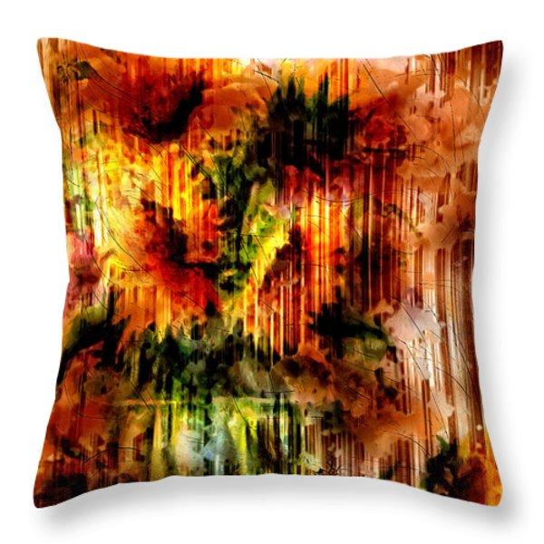 Grungey Vintage Sunflowers Throw Pillow by Georgiana Romanovna