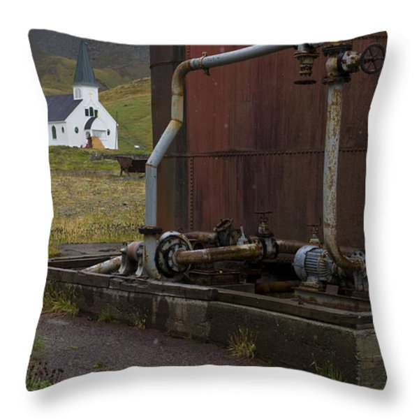 Grytviken, South Georgia Throw Pillow by John Shaw
