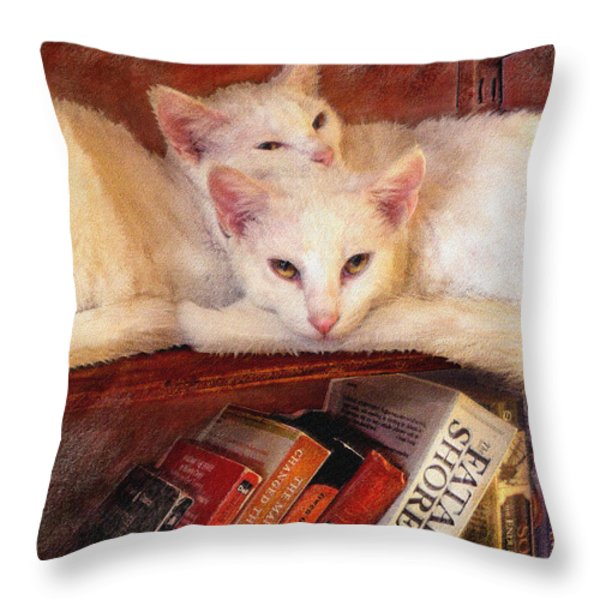 Guardians Of The Library Throw Pillow by Jane Schnetlage