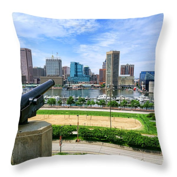 Guarding Baltimore Throw Pillow by Olivier Le Queinec
