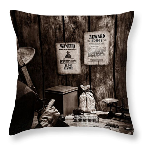 Guarding The Payroll Throw Pillow by American West Legend By Olivier Le Queinec