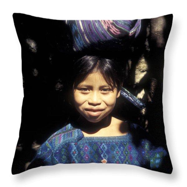 Guatemala Smiling Maya Girl Throw Pillow by John  Mitchell