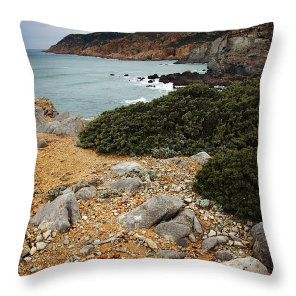 Guincho Cliffs Throw Pillow by Carlos Caetano