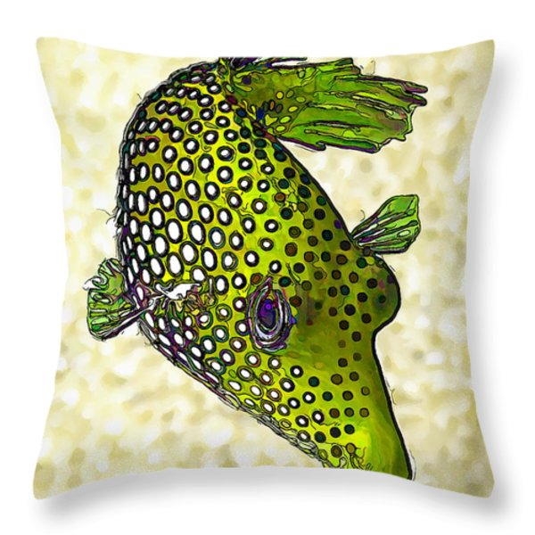 Guinea Fowl Puffer Fish In Green Throw Pillow by Bill Caldwell -        ABeautifulSky Photography