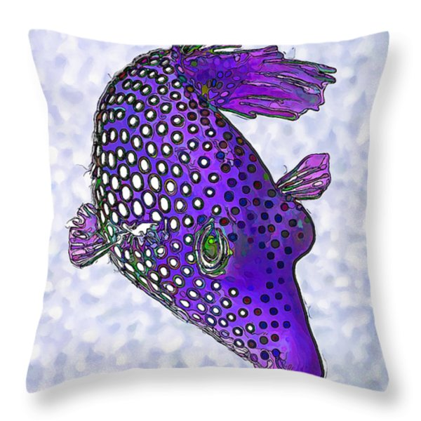 Guinea Fowl Puffer Fish in Purple Throw Pillow by Bill Caldwell -        ABeautifulSky Photography