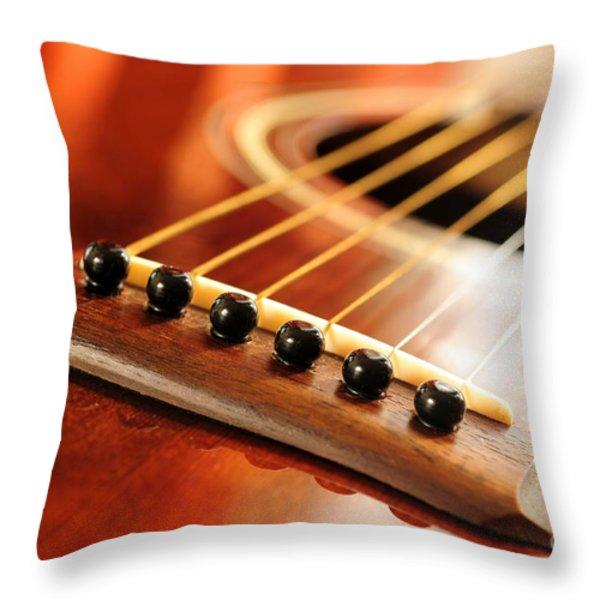 Guitar bridge Throw Pillow by Elena Elisseeva