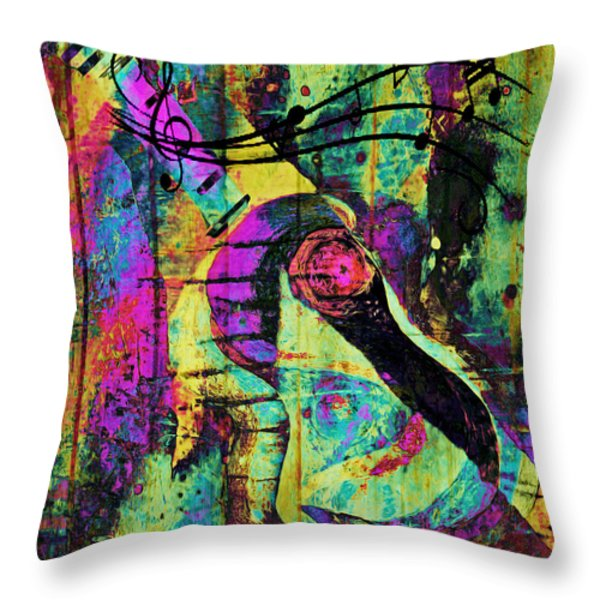 Guitar Improvisation Throw Pillow by Catherine Harms