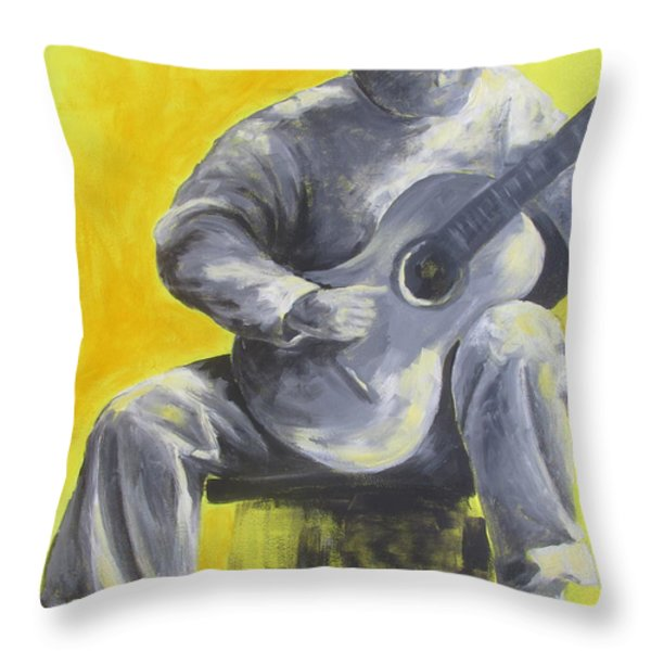 Guitar Man In Shades Of Grey Throw Pillow by Susan Richardson