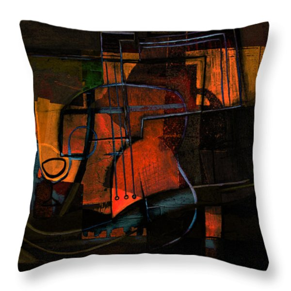 Guitar On Table #3 Throw Pillow by Kim Gauge
