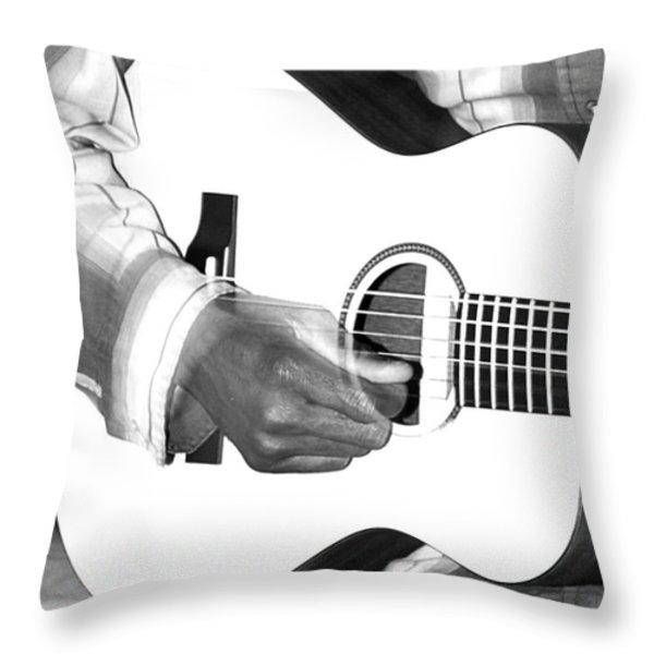 Guitar Player Throw Pillow by Aidan Moran