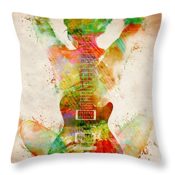 Guitar Siren Throw Pillow by Nikki Smith