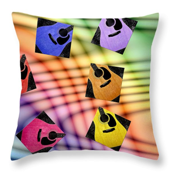 Guitar Storm - Rainbow Colors - Music - Abstract Throw Pillow by Andee Design