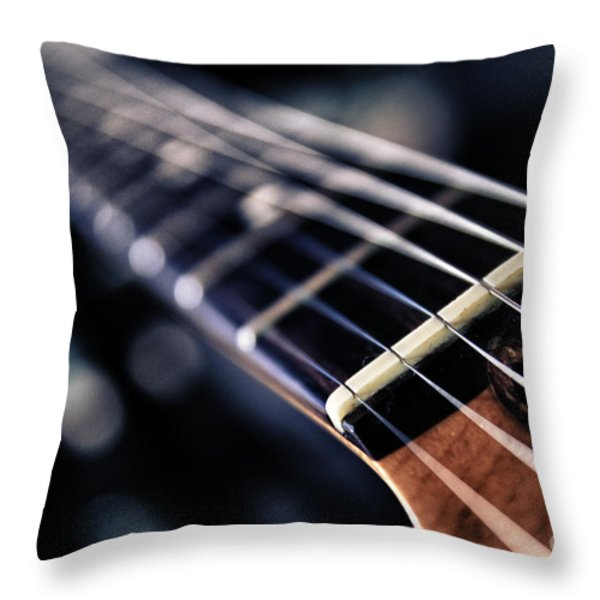 guitar strings Throw Pillow by Stylianos Kleanthous