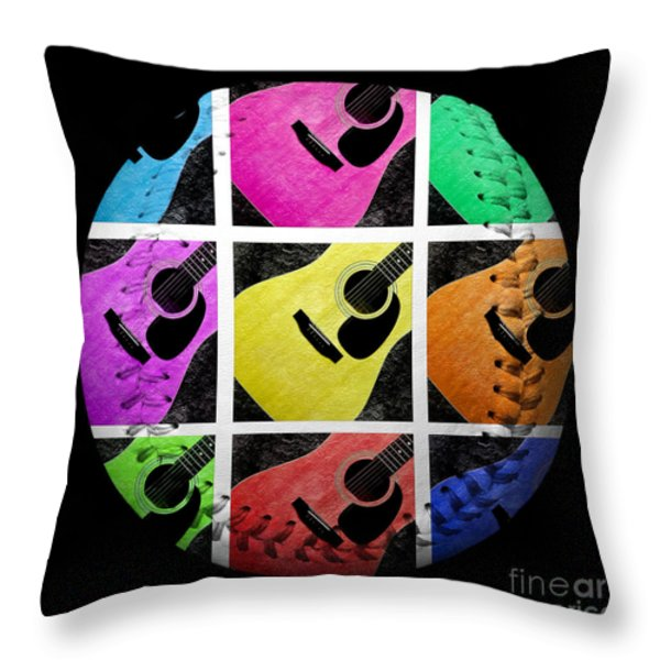 Guitar Tic Tac Toe White Baseball Square Throw Pillow by Andee Design