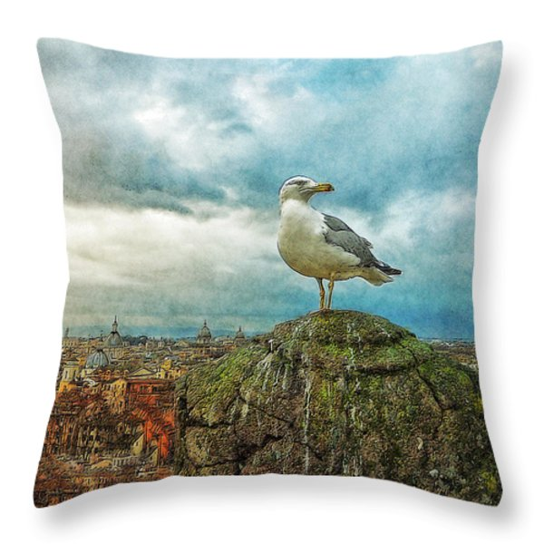 Gull Over Rome Throw Pillow by Jack Zulli
