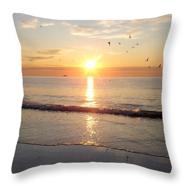 Gulls Dance In The Warmth Of The New Day Throw Pillow by Eunice Miller