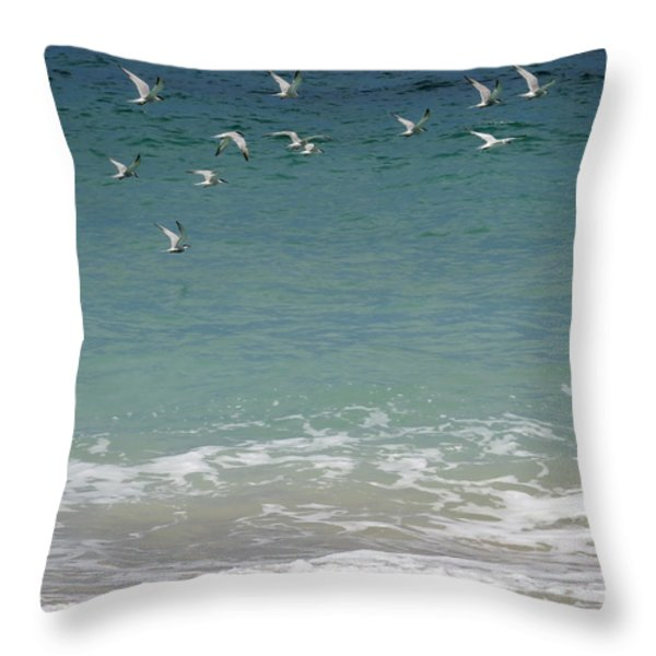 Gulls Flying Over The Ocean Throw Pillow by Zina Stromberg
