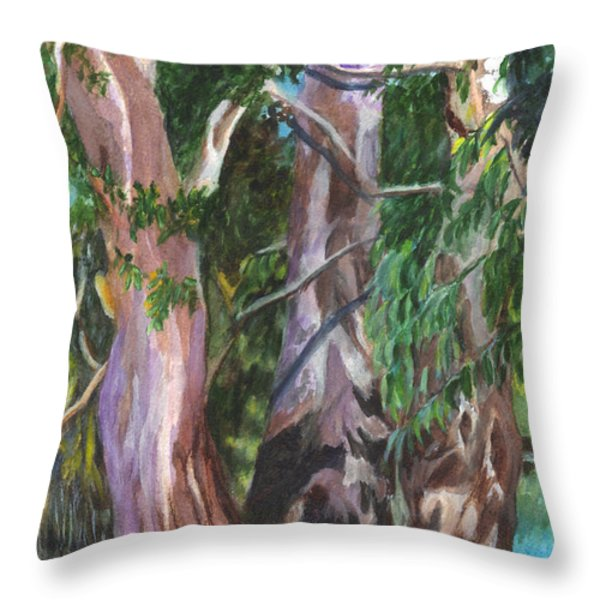 Gum Trees In Oz Throw Pillow by Carol Wisniewski