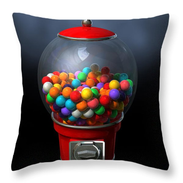 Gumball Dispensing Machine Dark Throw Pillow by Allan Swart