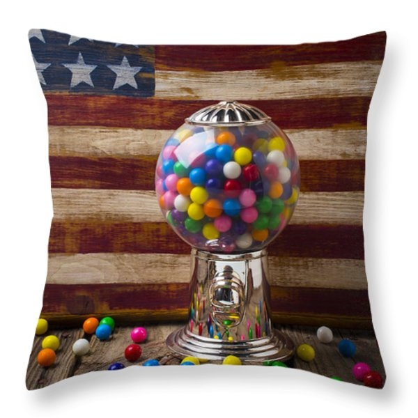 Gumball machine and old wooden flag Throw Pillow by Garry Gay