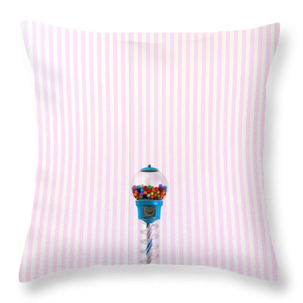 Gumball Machine In A Candy Store Throw Pillow by Allan Swart
